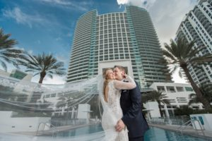 A styled photo of bride and groom at a Diplomat Beach Resort Wedding